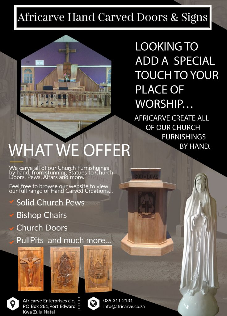 Africarve Advert Feb 24th 2020 - Africarve Hand Crafted Doors and Church Furnishings